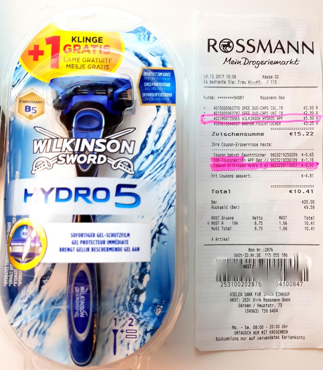 [ROSSMANN] Wilkonson HYDRO 5 (2Klingen+Griff) für 2,99 [10% Gutschein 2,69€]