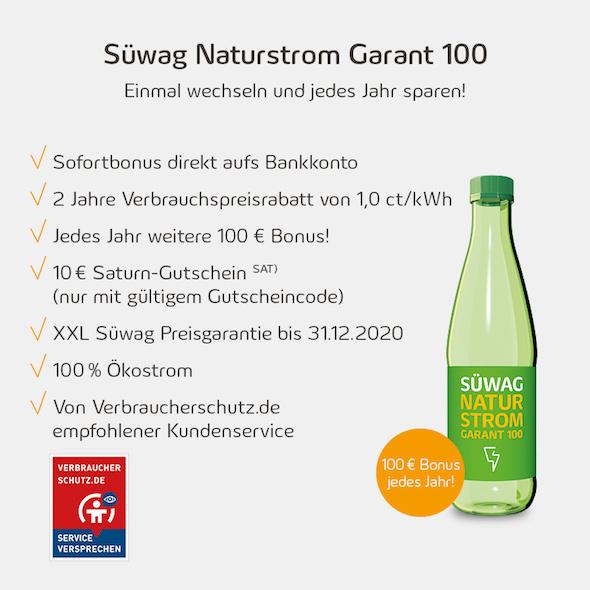 Strom Deal - 100€ Sofortbonus pro Jahr + 10€ Saturn.de Gutschein für den Stromwechsel zur Süwag mit Preisgarantie bis zum 31.12.2020
