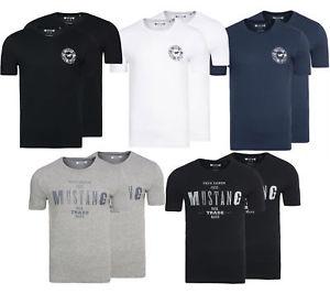 2er Pack MUSTANG Rundhals-Shirt True Denim für Herren (diverse Farben)