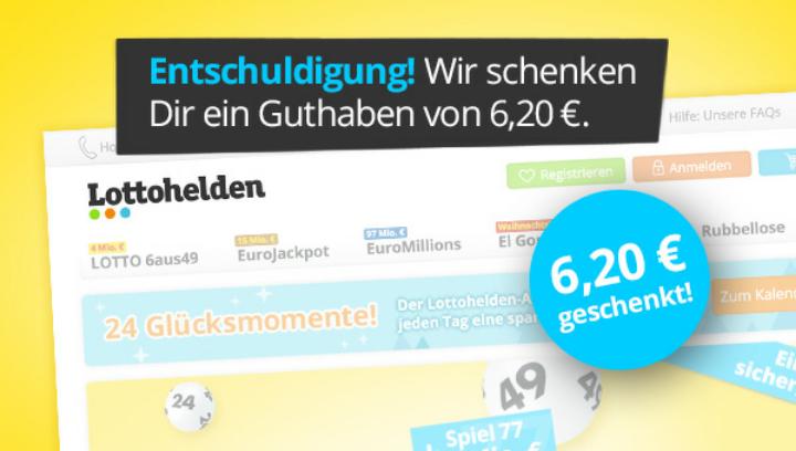 Lottohelden.de - 6,20 € gratis Guthaben für Bestandskunden