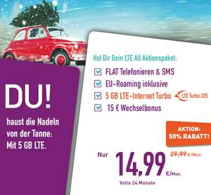 LTE ALL 5GB nur 14,99 €/Mon. LTE turbo 225