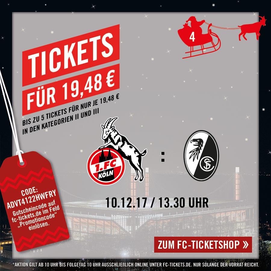 1.FC Köln - SC Freiburg  - Ticket für 19,48 € - Sonntag, 10.12.2017  • 13:30