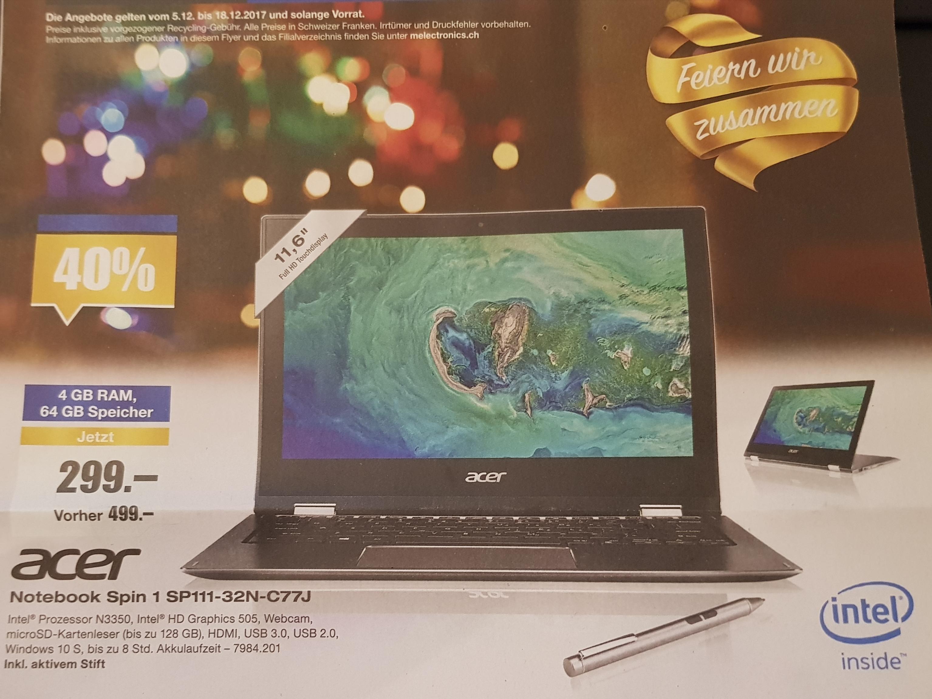 [Schweiz] Acer Spin 1 inkl. Stift bei melectronics.ch