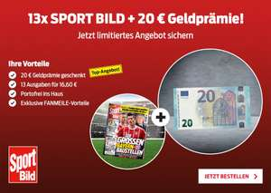[Lesershop24] 13 Ausgaben Sport Bild für 16,60€ + 20€ Verrechnungsgeschenk