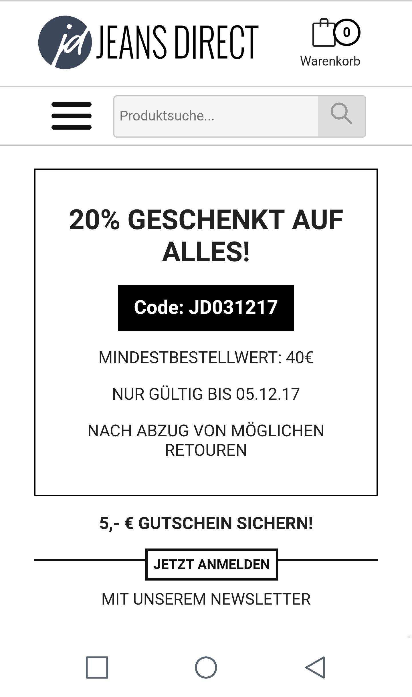 Jeansdirect 20% auf Alles ab 40€ MBW