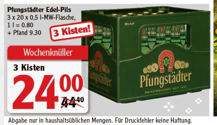 Pfungstädter Edel-Pils 3x 20 x 0,5 l Mehrwegflasche Lokal Globus Rüsselsheim