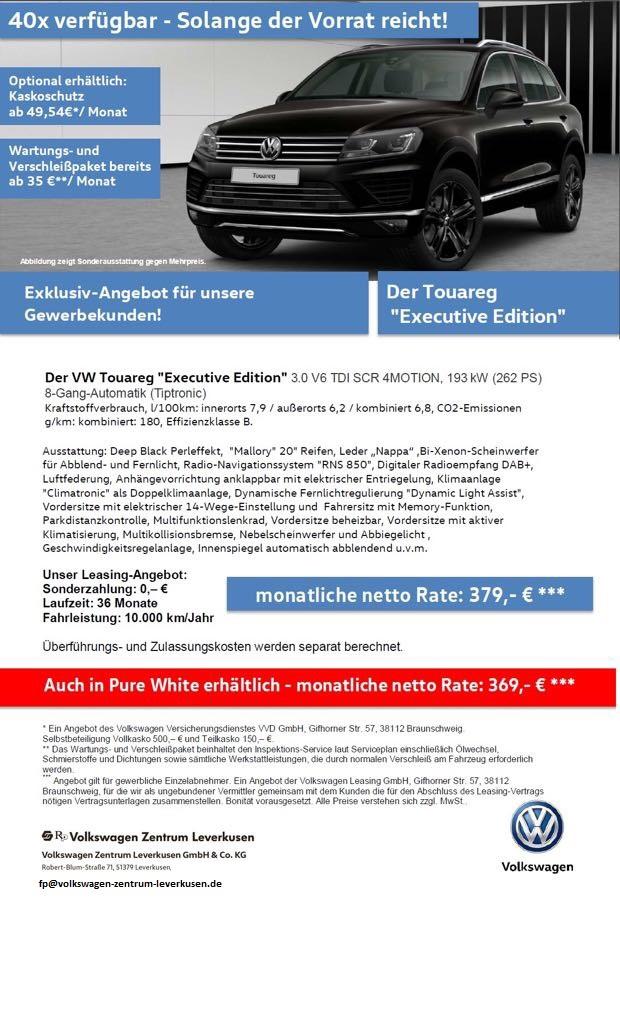 "[VW-Zentrum-Lev] VW Touareg ""Executive Edition"" Leasingangebot Gewerbekunden"