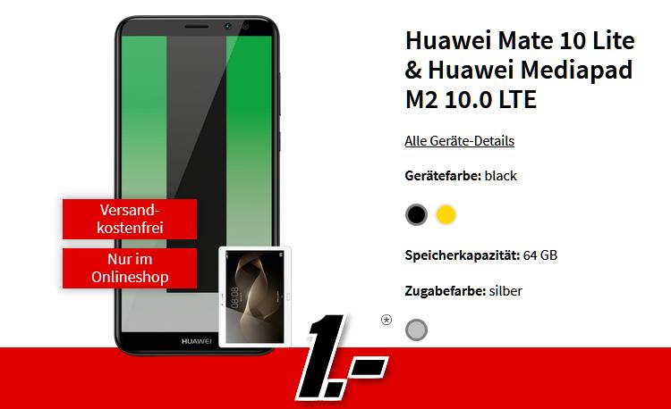 Huawei Mate 10 Lite und Huawei Mediapad M2 10.0 LTE mit großer Ersparnis durch Schubladenvertrag