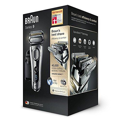 Braun Series 9 Rasierapparat 9290cc, mit Reinigungs- und Ladestation, Reise-Etui, silber 40 € Cashback möglich
