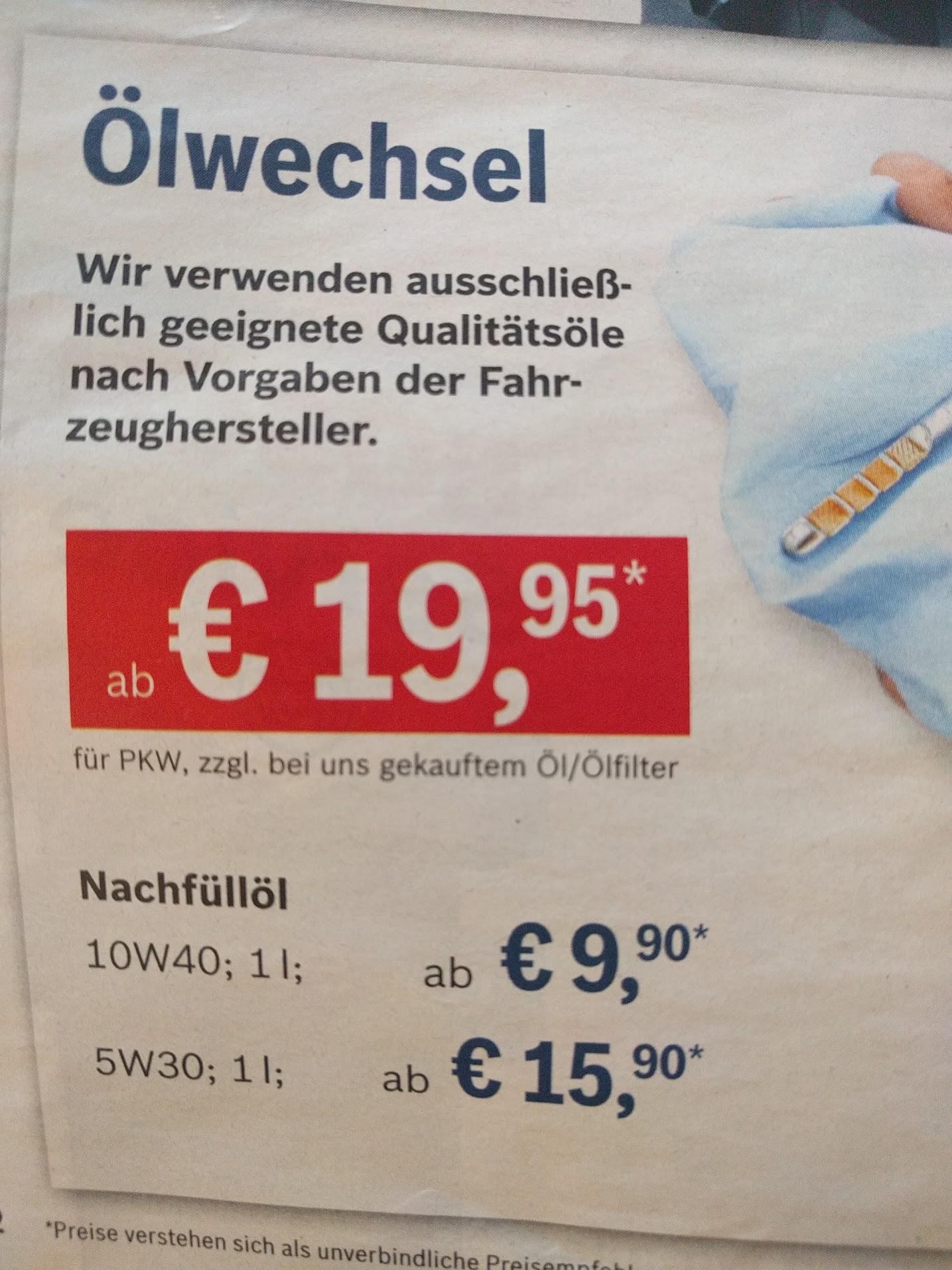 [lokal Rosenheim evtl. bundesweit] Bosch Car Service Ölwechsel mit Ölfilter