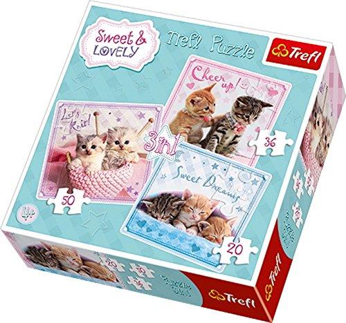 [Amazon Prime] Trefl 34809 Puzzle 3-in-1, Sweet und Lovely, Süße Kätzchen