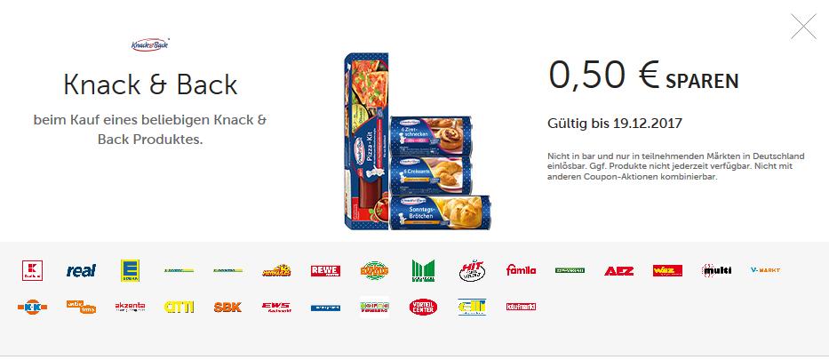 NEUER COUPON! 50 Cent Rabatt für alle Knack&Back Produkte Couponplatz