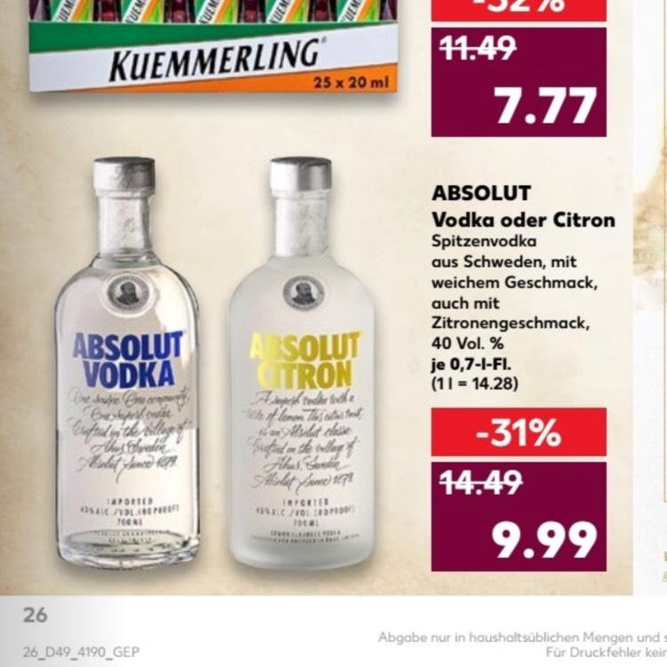 Absolut Vodka ab 7.12 im Kaufland für 9,99€ 31% billiger