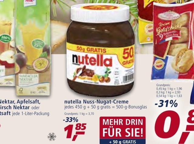 [real] Nutella 450g + 50g = 500g Bonusglas für 1,85 Euro