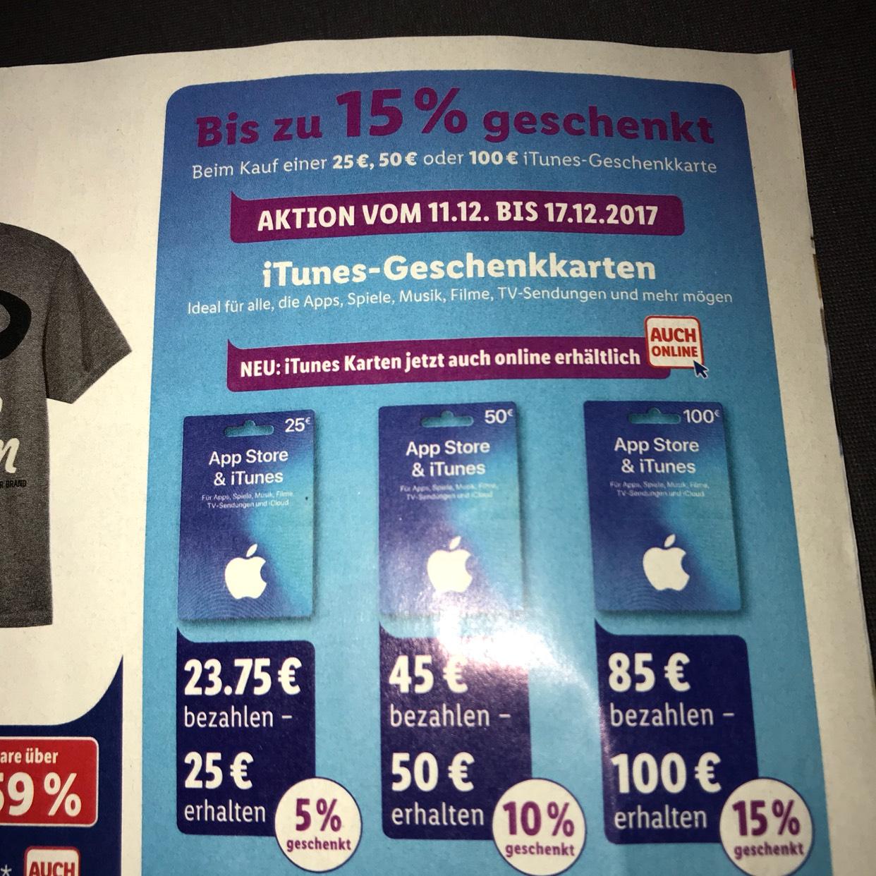iTunes Guthaben bis zu 15% bei Lidl  (11.12.-17.12.) auch online