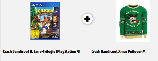 Crash Bandicoot N. Sane Trilogie (PS4) + Crash Bandicoot Xmas Pullover (M oder L) für 59€  versandkostenfrei (Media Markt)
