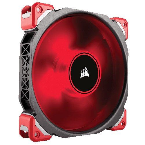 Corsair ML140 Series LED Premium PC-Gehäuselüfter mit Magnetschwebetechnik, 140 mm, Rot/Weiß/Blau LED, schwarz/rot