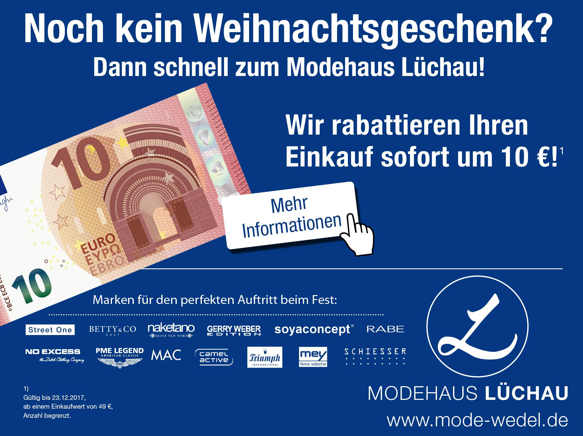[Lokal: Wedel / West HH] 10 € Gutschein - Modehaus Lüchau