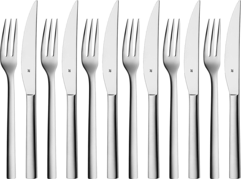 Amazon Prime Tagesangebot WMF Steakbesteck-Set 12-teilig Steakgabel Steakmesser für 6 Personen Nuova Cromargan Edelstahl rostfrei poliert