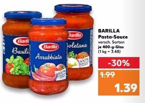 Ab 07.12.17 Barilla Pasta Sauce 400g 1,39€ bundesweit Kaufland und online. Barilla Pasta 500g für 0,77€