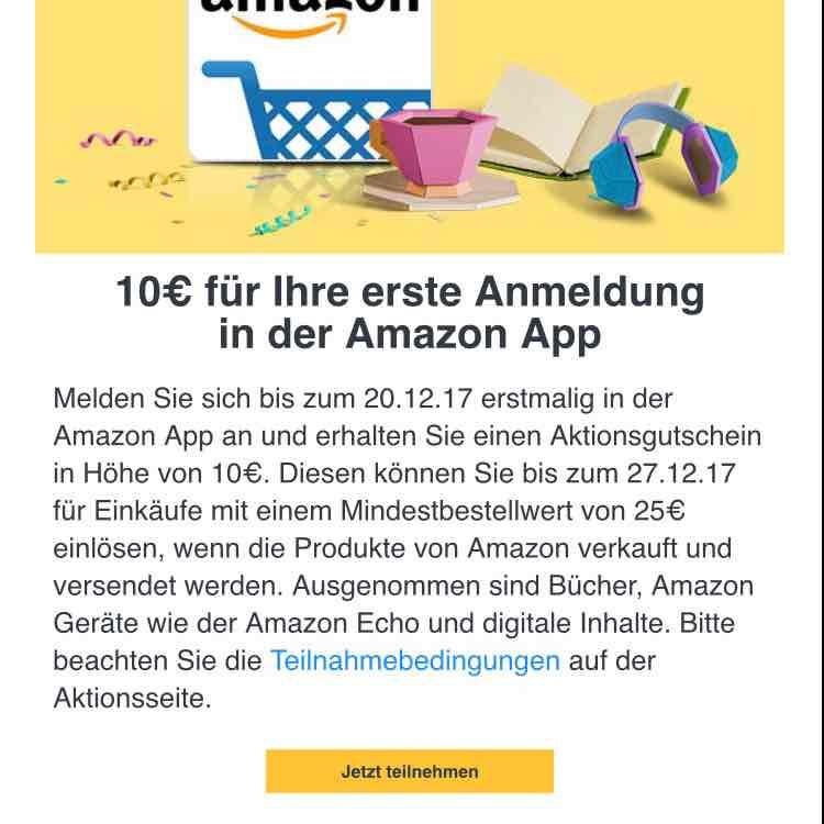 Amazon 10€ Gutschein für die erste Anmeldung in der App