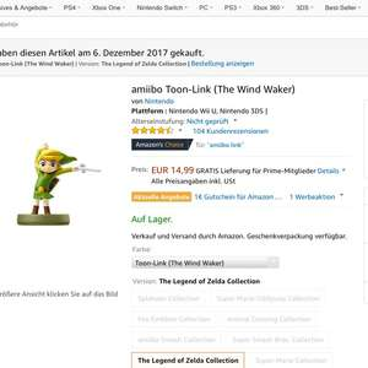 [Amazon.de]Amiibo Toon Link 14,99€; sofort verfügbar