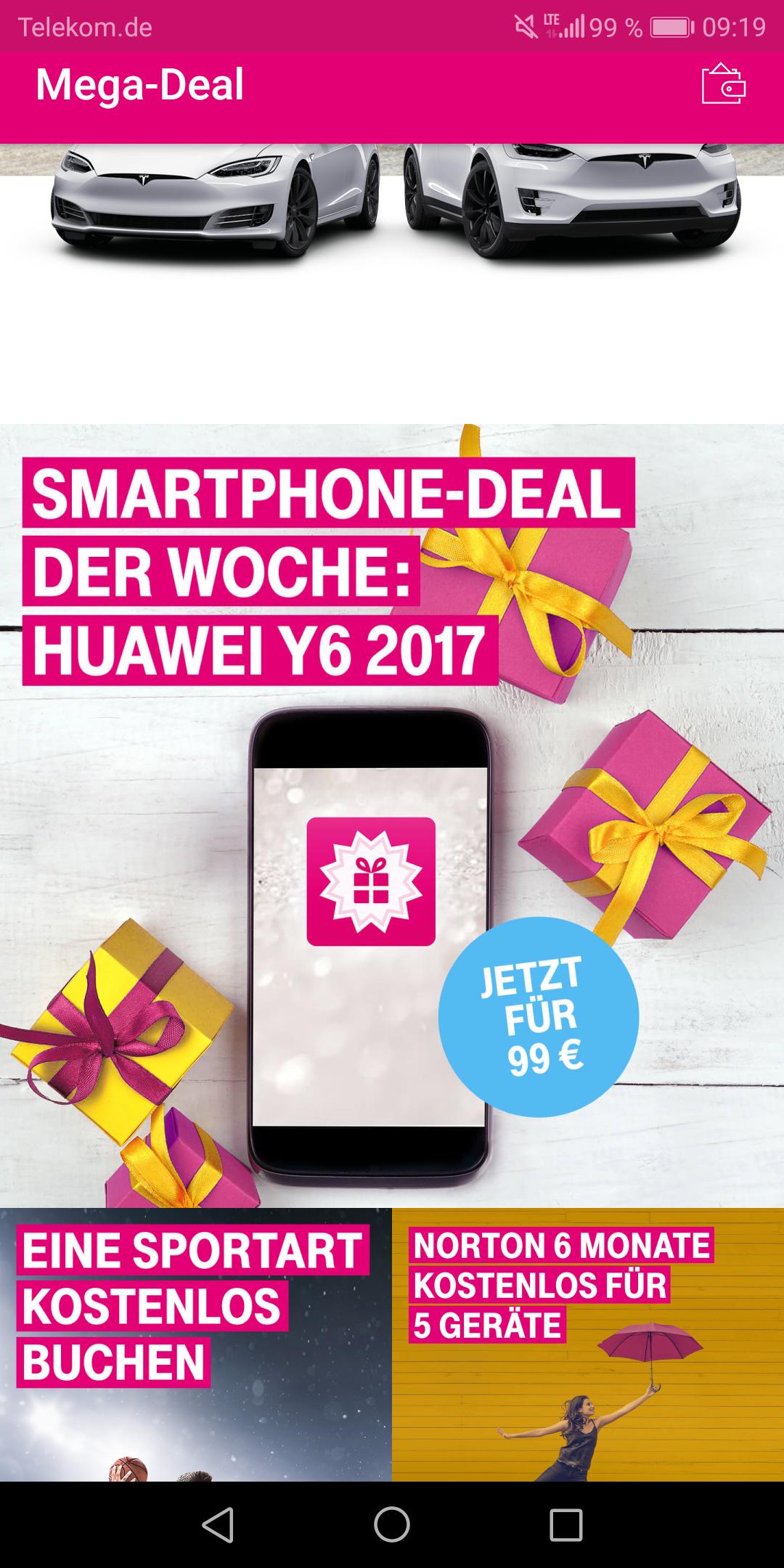 Telekom Mega Deal App - Huawei Y6 2017 für 99€ - PVG 127€