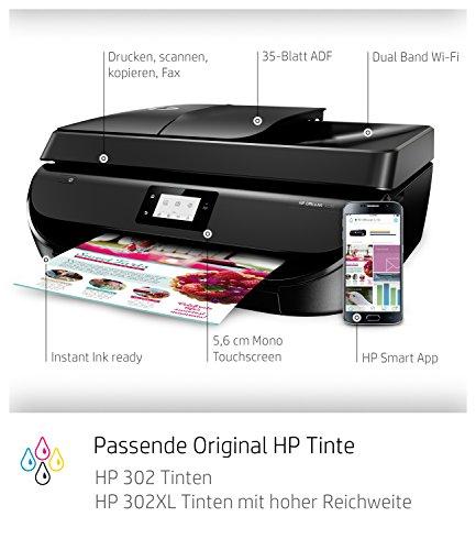 HP OfficeJet 5230 A4 Multifunktionsdrucker (Drucken, kopieren, scannen, faxen, WLAN, Airprint, HP Instant Ink Ready) schwarz