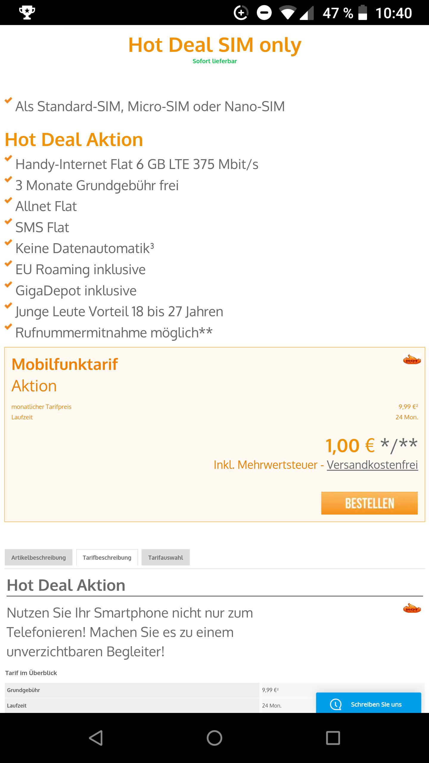 [Vodafone] 9,99€ für 6GB LTE, 3 Monate kostenlos