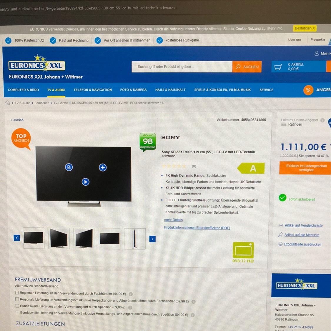 [Lokal Ratingen] Sony KD55-XE9005 für 1.111€