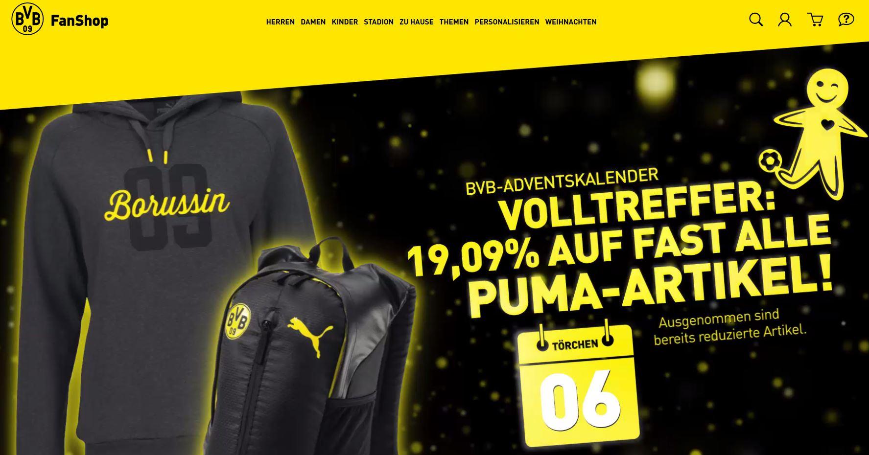 Nikolaus Volltreffer: 19,09 % auf fast alle Puma-Artikel im BVB FanShop