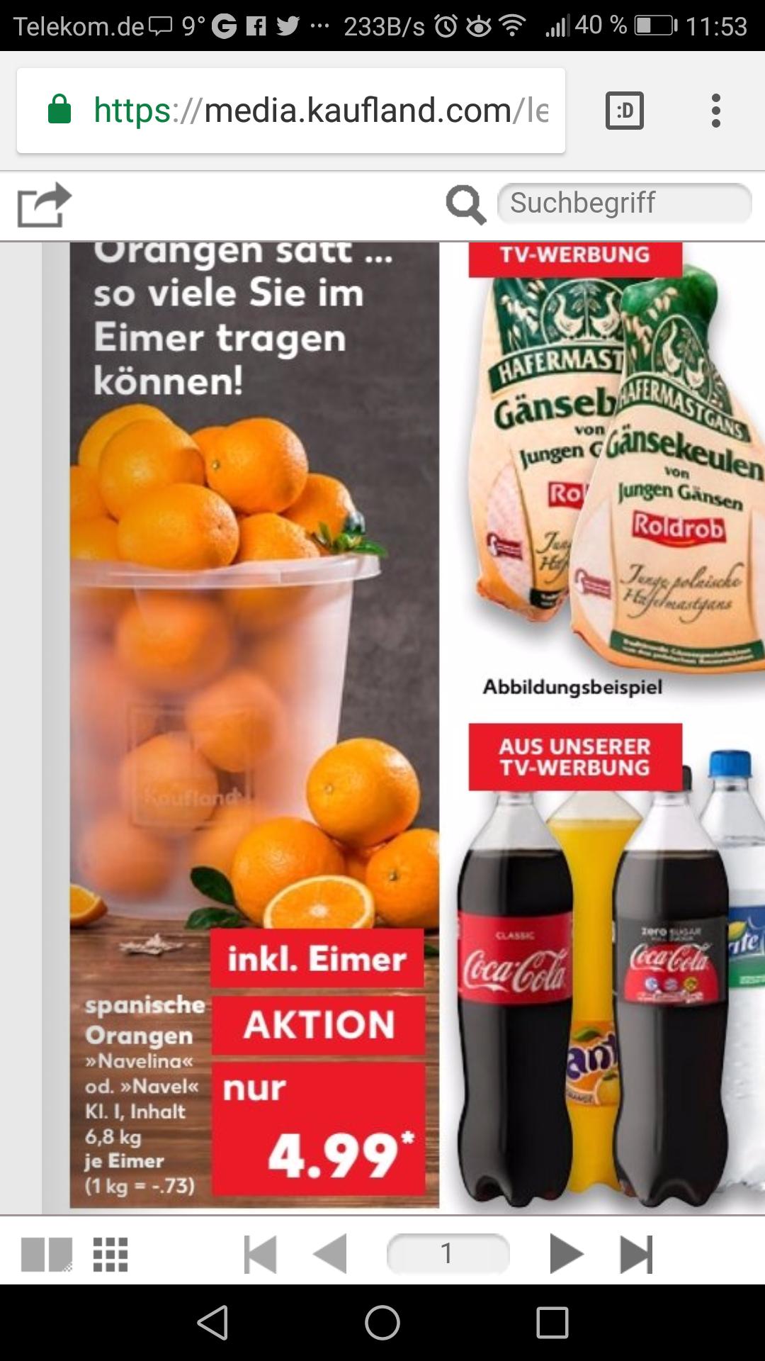 [Kaufland] Eimer Orangen(mindestens 6,8 Kilo)  für 4,99€