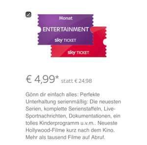 Sky Ticket Entertainment + Cinema für 4,99€