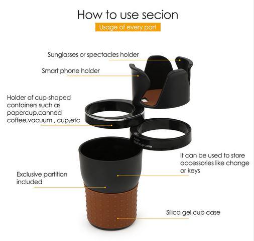 Multifunktions Getränkehalter Organizer 360 Grad