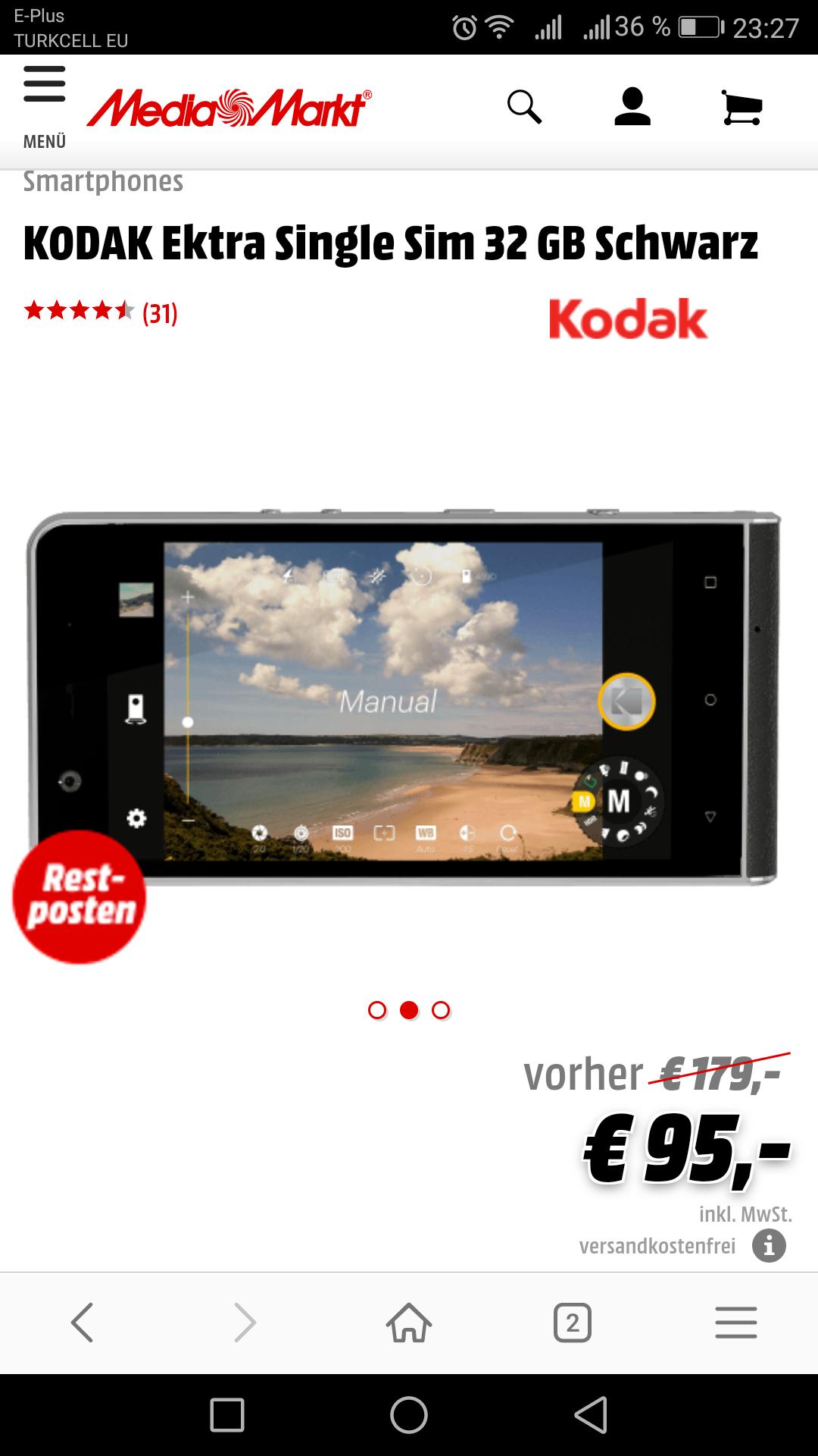 [Media Markt] KODAK Ektra Single Sim 32GB Schwarz / Versandkostenfrei