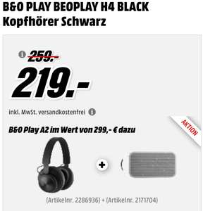 [Media Markt online] B&O Beoplay A2 Active + B&O BEOPLAY H4 Kopfhörer im Set