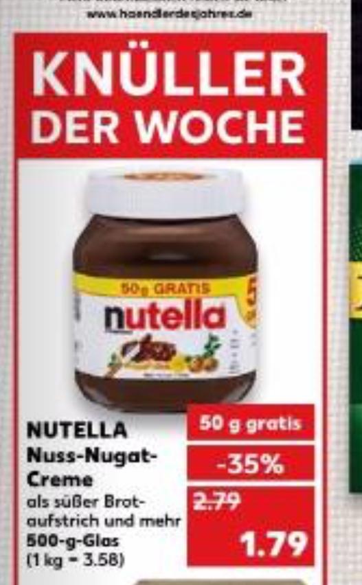 (Kaufland) Nutella 500g für 1,79€ 14.-20.12.2017