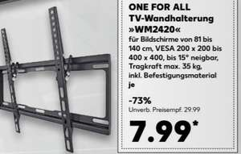 ONE FOR ALL TV-Wandhalterung WM 2420 32 - 55 Zoll (bis 140 cm) bis 35kg VESA für 7,99 € @ Kaufland bundesweit ab Montag 18.12.