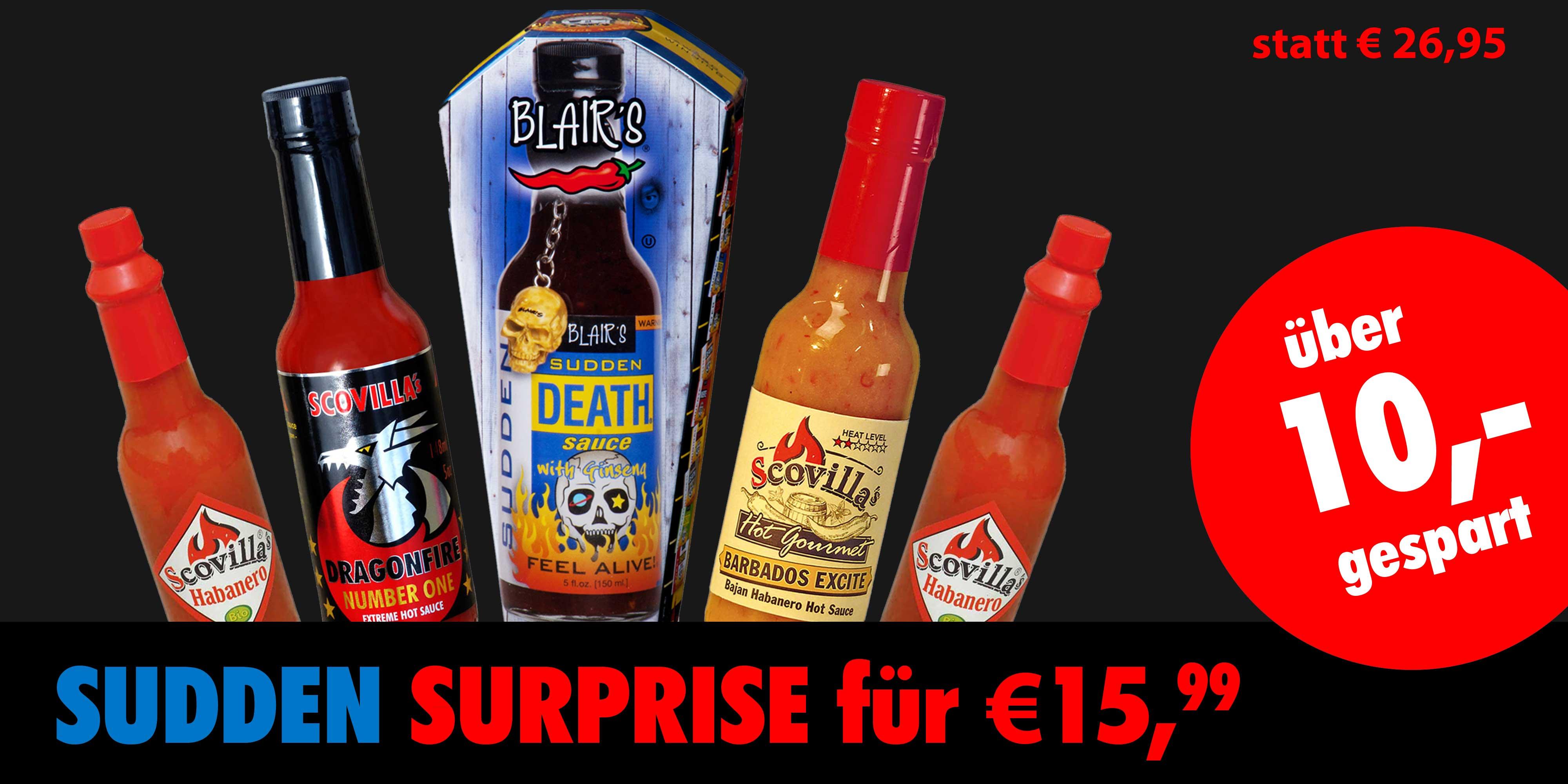 [scovilla.com] Sudden Suprise Set mit der beliebten Blairs Sudden Death - 5 Hot Sauces für 15,99 € + 3,90 Versand (statt 26,95 €)
