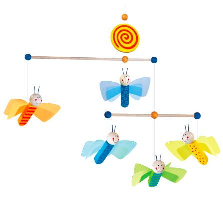Mobile Flatterlinge von Haba mit 5 Schmetterlingen aus Holz