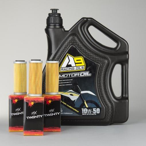 4l Motoröl + 3 Filter als Sets für diverse Crossmaschinen (Honda, Yamaha, KTM etc...) | Nur heute für 19,99 € an Stelle 51,95 € bei MX24