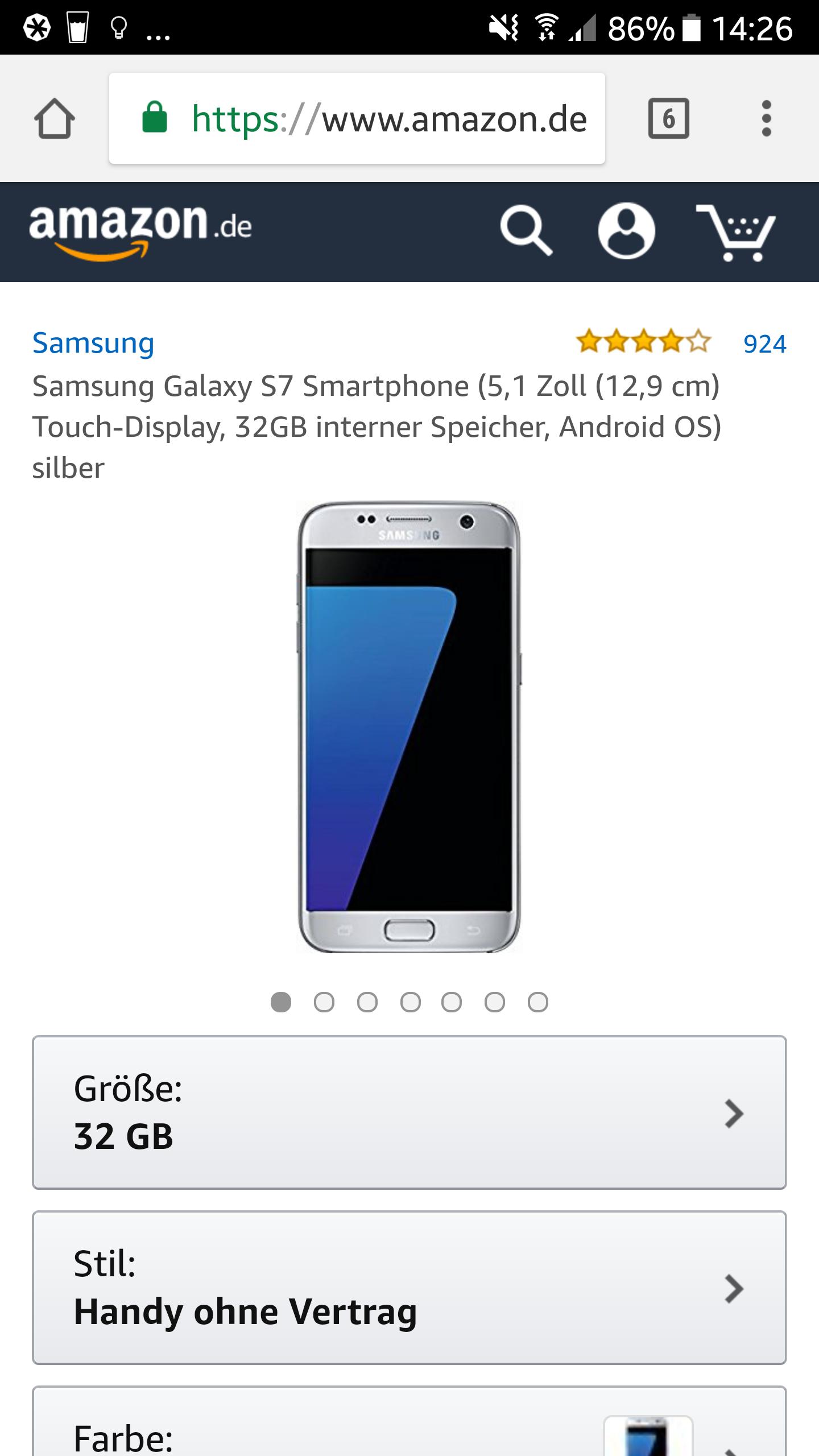 Samsung Galaxy S7 für 399€ bei Amazon