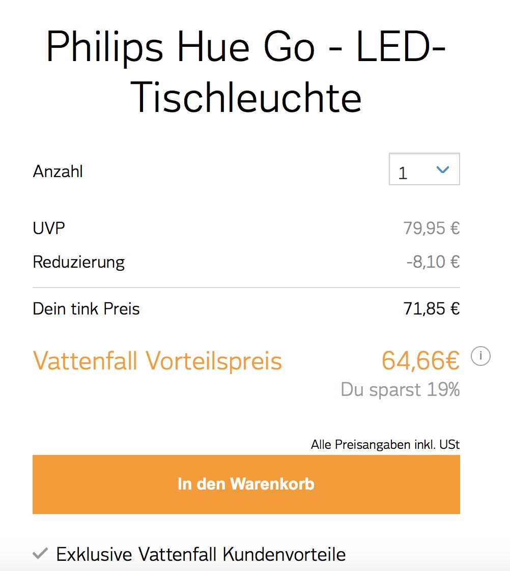 Vattenfall Shop / Rabatt + Kundenvorteil + 40 € Gutschein / z.B. Philips Hue Go für 24,66 €