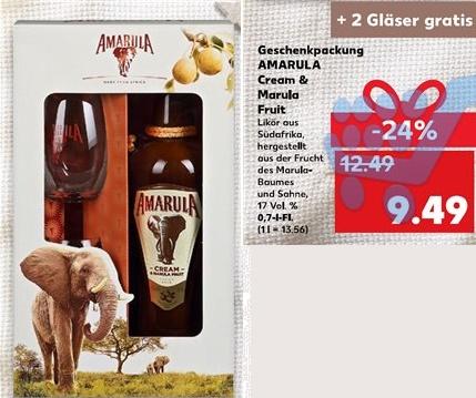 [Kaufland] Amarula Marula Fruit and Cream 700ml Flasche + 2 Gläser gratis mit Coupon nur 7,09€