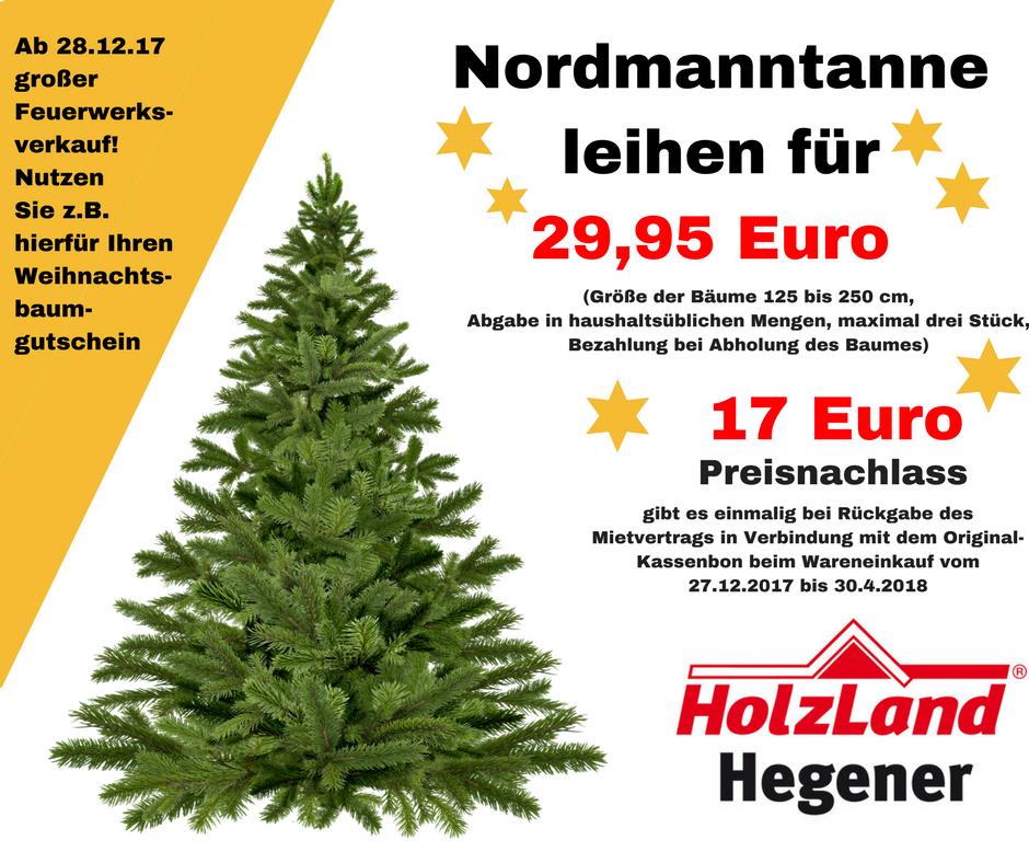 [Lokal Gladbeck] Weihnachtsbaumverleih mit Einkaufsgutschein bei Holz Hegener