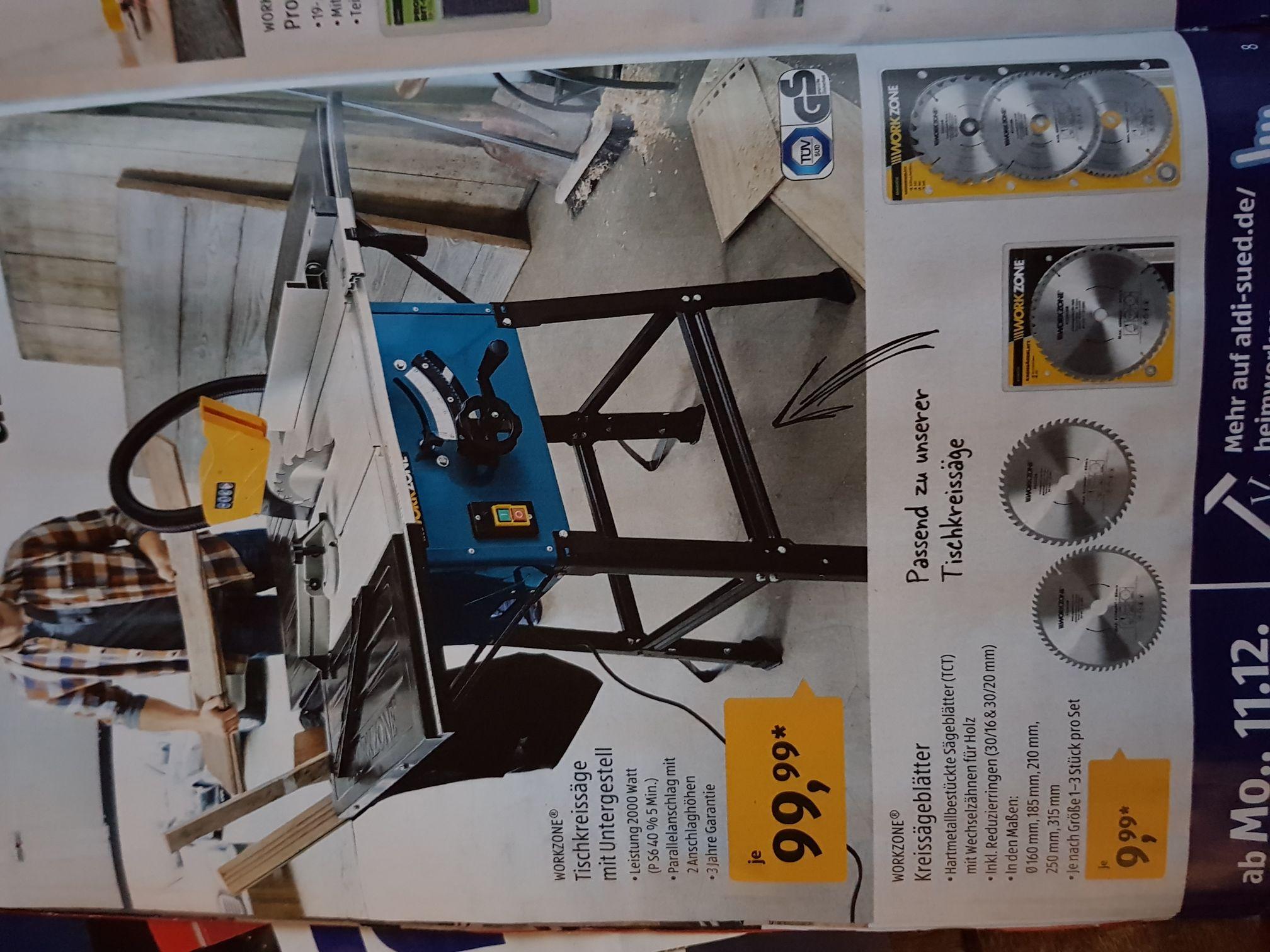 (Aldi Süd) ab 11.12 Tischkreissäge mit Untergestell für 99.99€