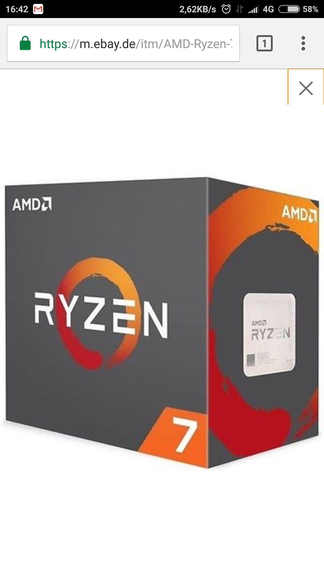 AMD Ryzen 7 1700 Boxed mit Wraith Spire Octa Core (8-Kern)  Für  256,41€ mit Gutscheincode preisknaller bei eBay. Preisvergleich bei 284,44€ zzgl Lieferfristen.