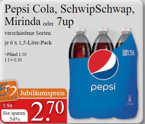 Pepsi Cola, Schwip Schwap,Mirinda und 7up je 1,5 l Flasche nur 0,45€ (V-Markt ab 07.12.)