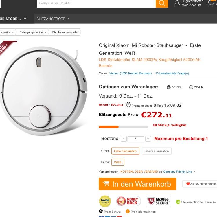 [Gearbest] Xiaomi Vacuum (gen.1) german warehouse