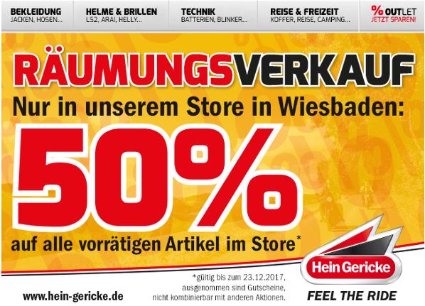 (regional nur Wiesbaden) Hein Gericke 50 Prozent auf alles / Räumungsverkauf